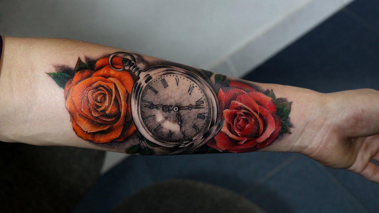 Ý nghĩa hình xăm hoa hồng và đông hồ trong xăm nghệ thuật