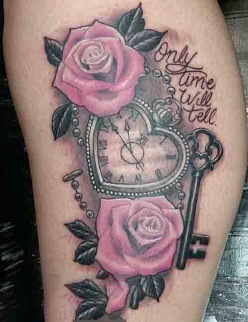 Ý nghĩa hình xăm hoa hồng và đồng hồ ý nghĩa và đẹp nhất cho nữ