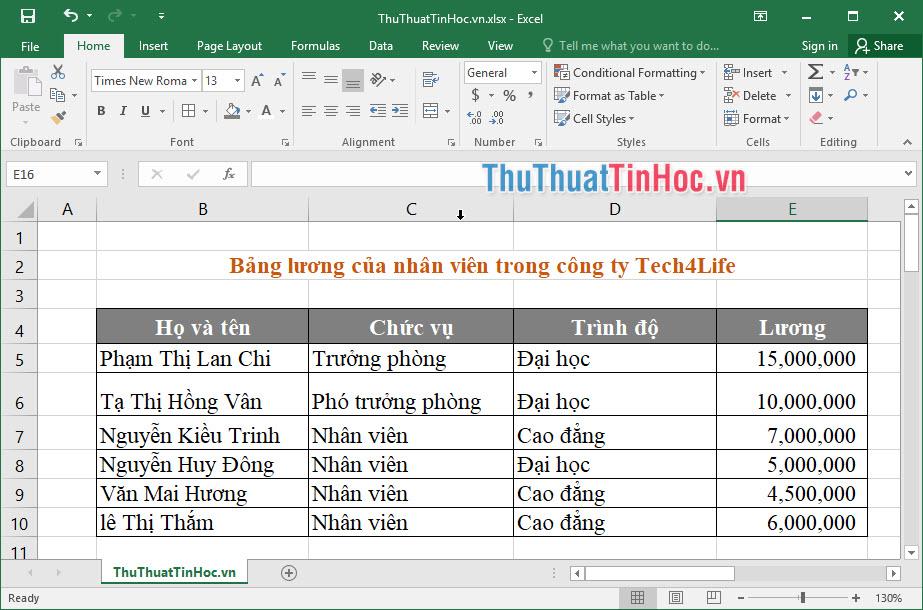 Bảng tính lương của các nhân viên trong công ty TNHH Tech4Life