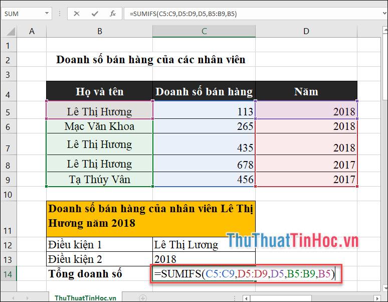 Tính doanh số bán hàng của nv Lê Thị Hương trong năm 2018
