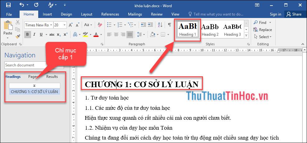 Áp dụngstyle Heading 1 (chỉ mục cấp 1) cho Chương I