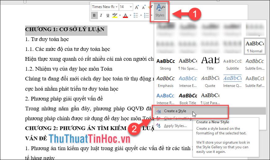 Bôi đen toàn bộ chữ cần tạo style - click chuột phải chọn biểu tượng Style - Create a style