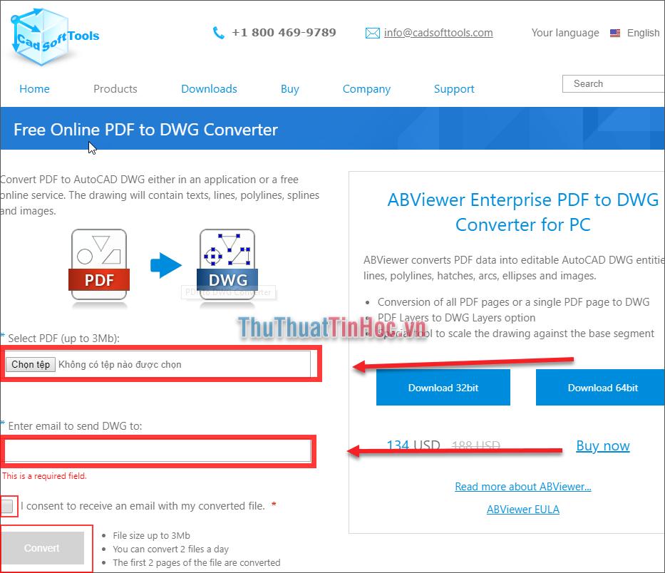 Chọn file PDF cần chuyển qua CAD - Nhập địa chỉ Email nhận file CAD sau khi chuyển đổi