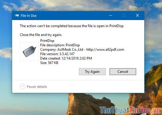 Thông báo File In Use