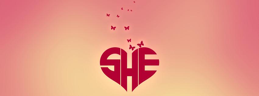 Ảnh bìa Facebook trái tim cô gái