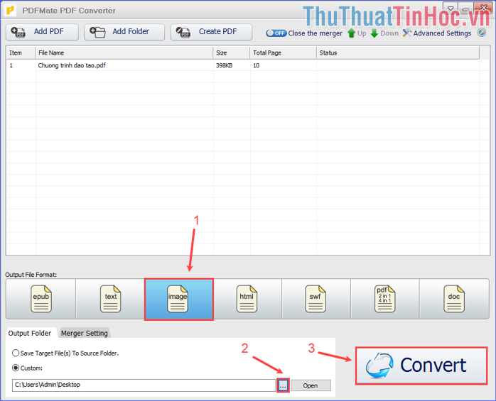 Chọn định dạng đầu ra là image; chọn nơi xuất file đầu ra rồi click vào Convert