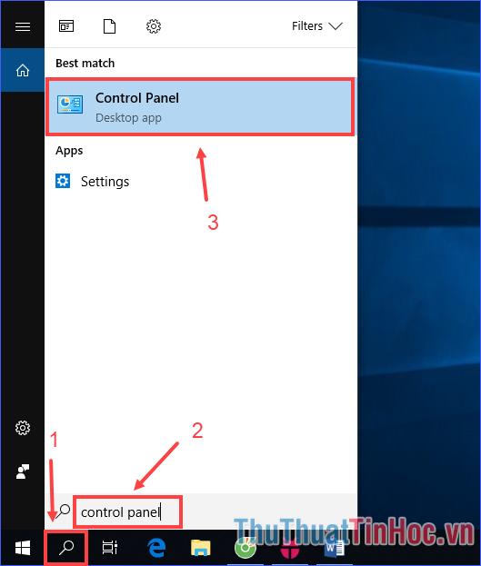 """Click vào công cụ tìm kiếm, nhập """"Control Panel"""""""