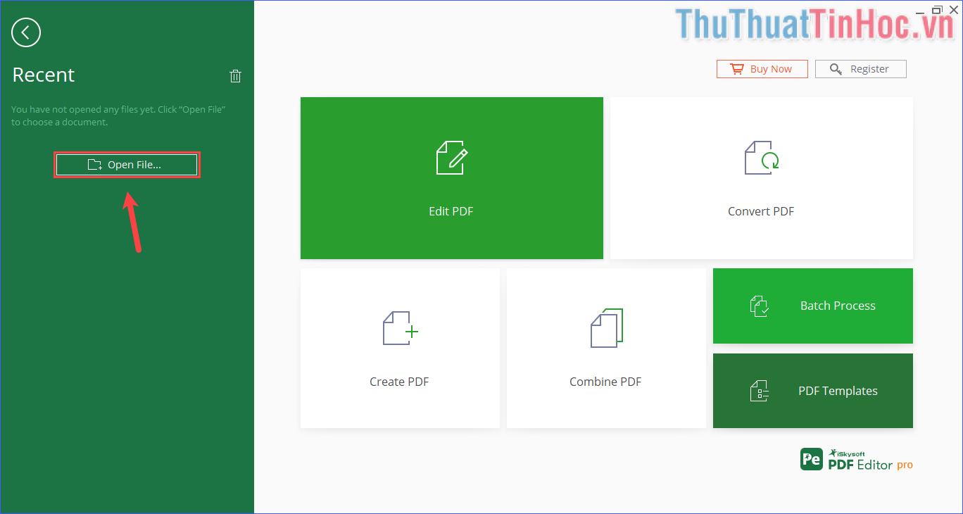 Click vào Open File để mở file PDF... muốn nén