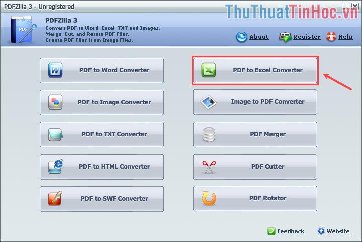 Click vào PDF to Excel Converter