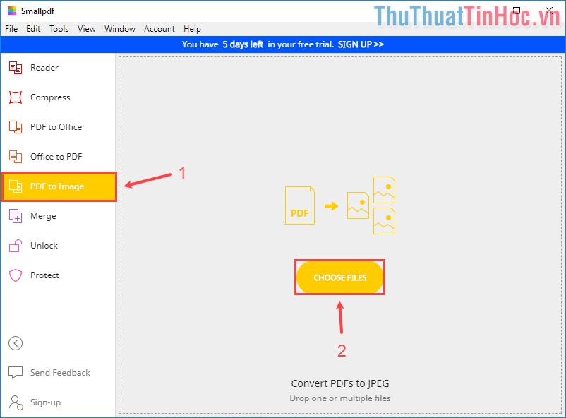 Click vào PDF to Image - Kéo file PDF cần chuyển thành JPG vào cửa sổ ứng dụng