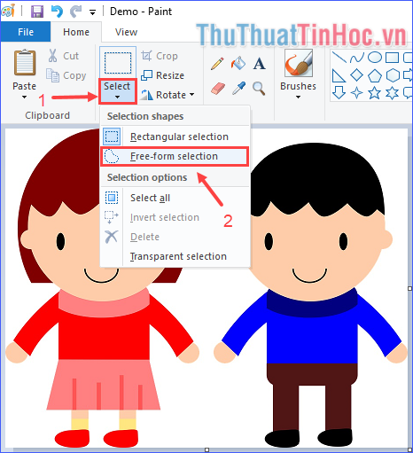 Trong thẻ Home, click vào Select → Free-form selection