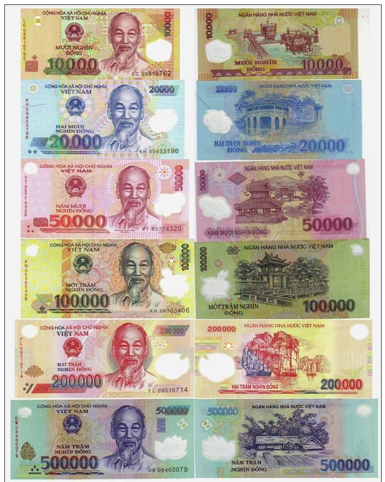 Hình ảnh các mệnh giá tiền Việt Nam
