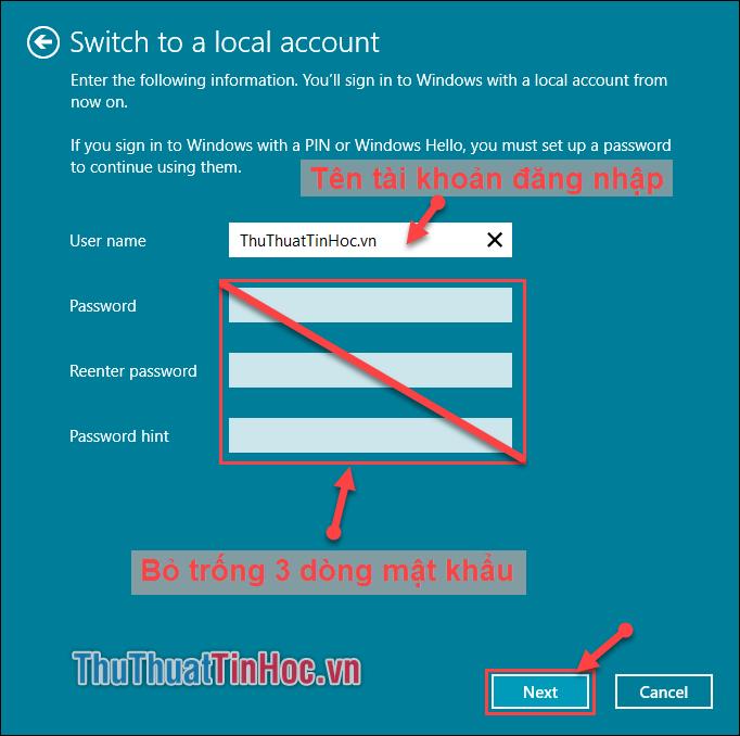 Điền tên tài khoản đăng nhập, bỏ trống 3 dòng yêu cầu mật khẩu