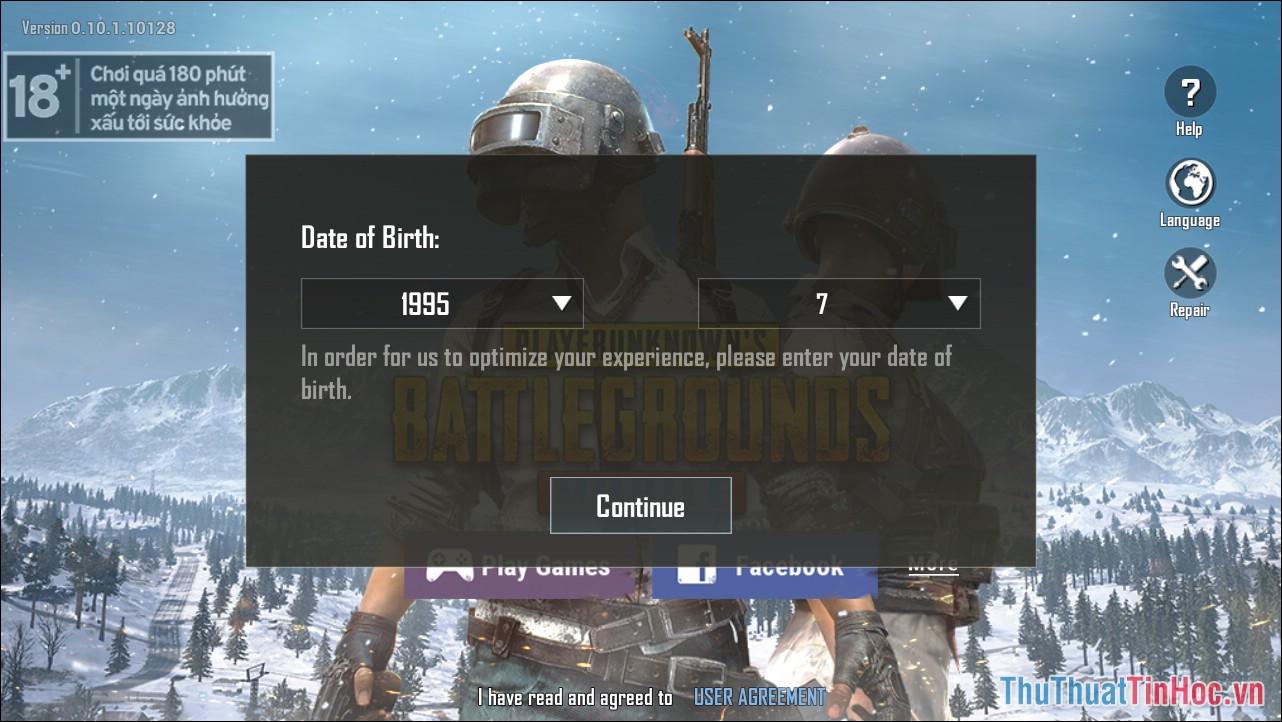 Khai báo tháng và năm sinh của mình