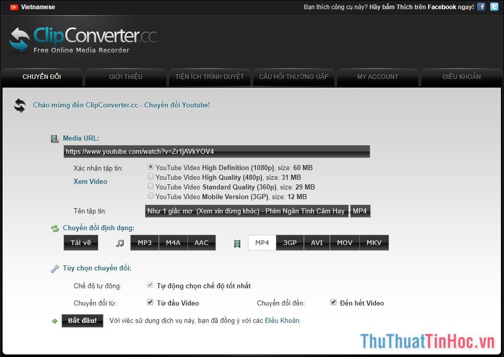 Sử dụng trang web Clip Converter