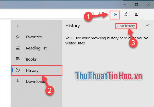 Chọn icon ngôi sao - Chọn tab History - Chọn Clear history