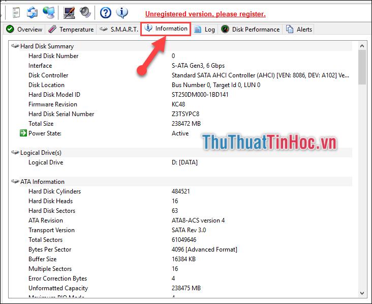 Chọn tab Information để kiểm tra rõ hơn toàn bộ thông tin liên quan đến ổ cứng