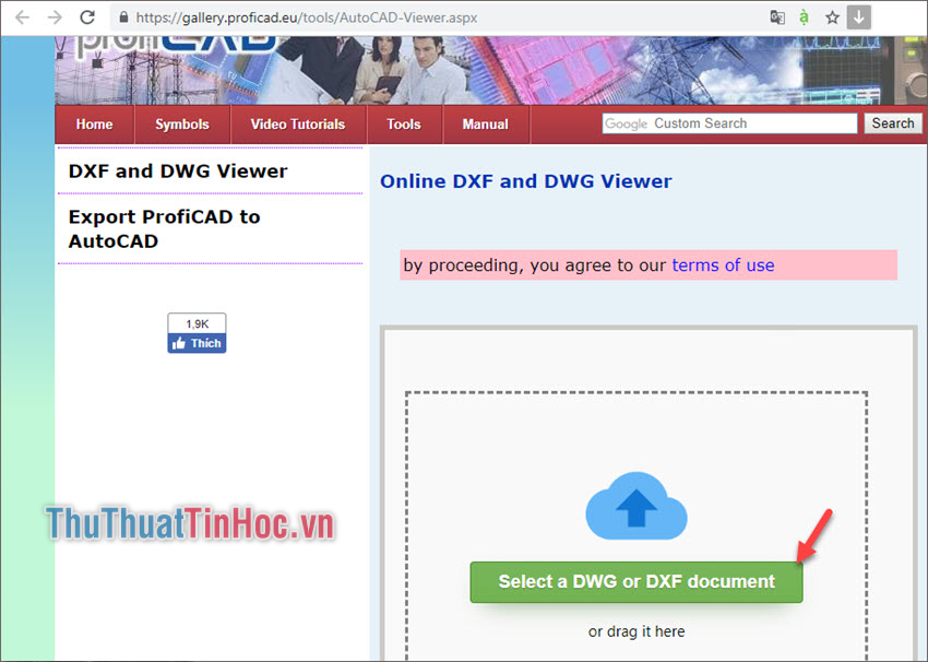 Di chuột chọn Select a DWG or DXF document