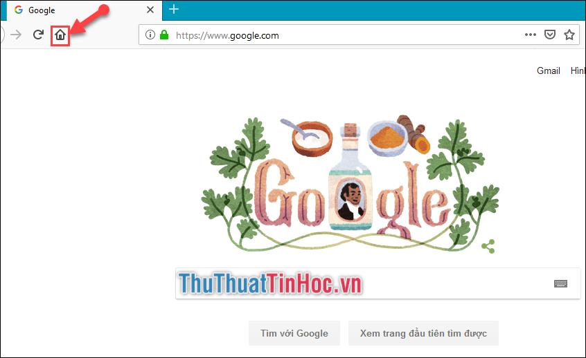Kéo tab Google vào chỗ icon ngôi nhà ở trên thanh công cụ