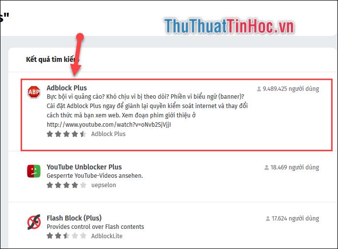 Lựa chọn phần mềm Adblock Plus