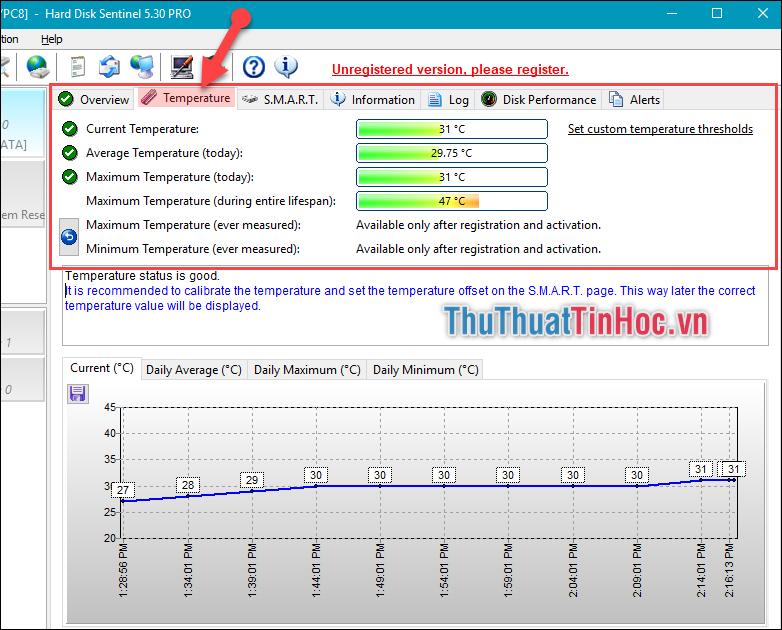 Sang tab Temperature để kiểm tra rõ thông số nhiệt độ của ổ cứng