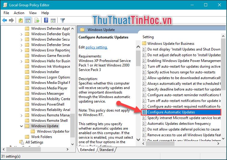 Tìm và kick đúp chuột vào dòng Configure Automatic Updates