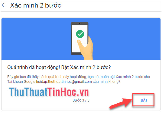 Click vào Bật để bật xác minh 2 bước cho Tài khoản Google