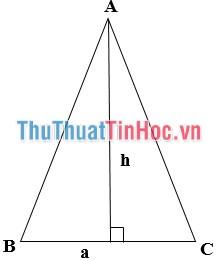 Công thức tính diện tích hình tam giác cân