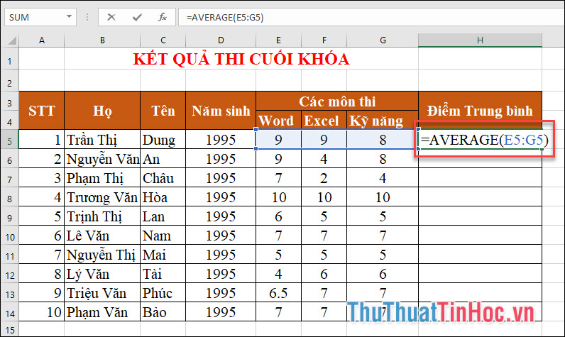 Điểm trung bình của học sinh được tính: ĐTB= AVERAGE(E5:G5)