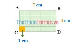 Diện tích hình chữ nhật ABCD bằng bao nhiêu?