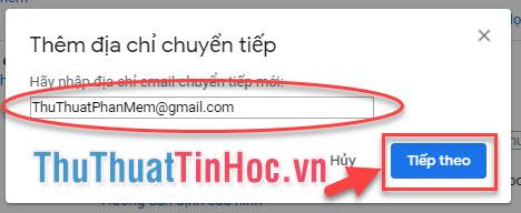 Nhập địa chỉ Email muốn chuyển tiếp