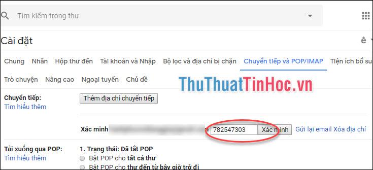 Nhập mã xác minh ở Email mới, tiếp tục click Xác minh