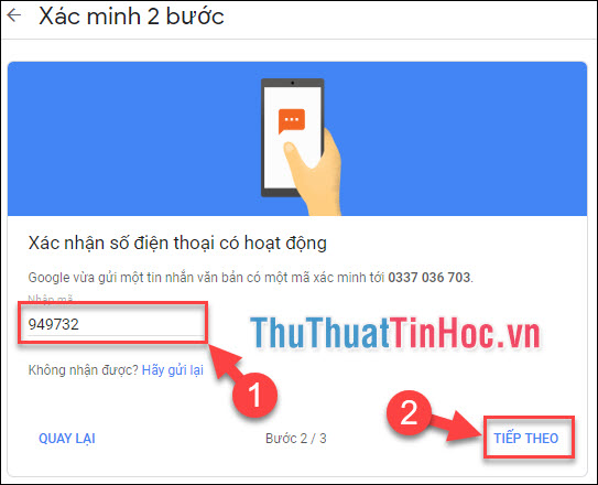 Nhập số xác minh Google gửi cho bạn