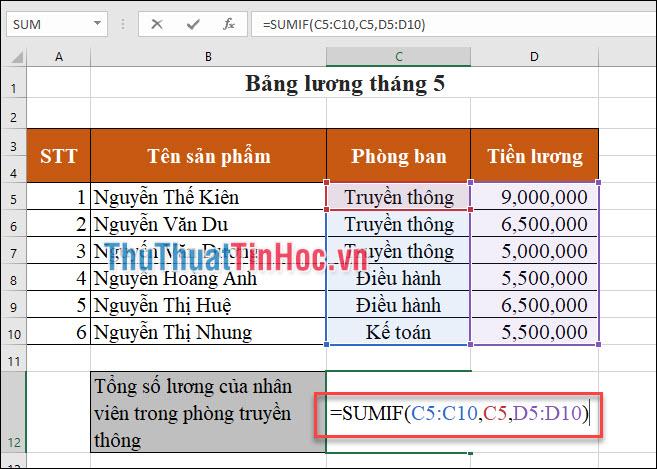 Sử dụng hàm SUMIF để tính: =SUMIF(C5:C10,C5,D5:D10)