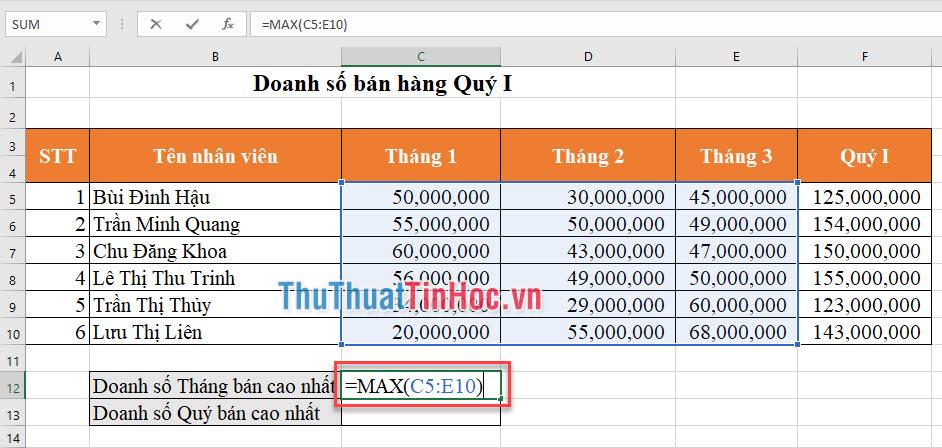 Tháng bán cao nhất của Quý được tính: =MAX(C5:E10)