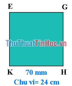 Tính diện tích hình vuông EGKH