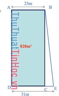 Tính diện tích mảnh đất hình thang ABED