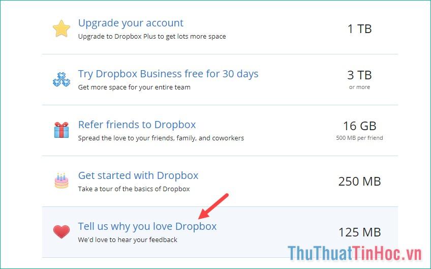 Cho biết lý do bạn thích Dropbox