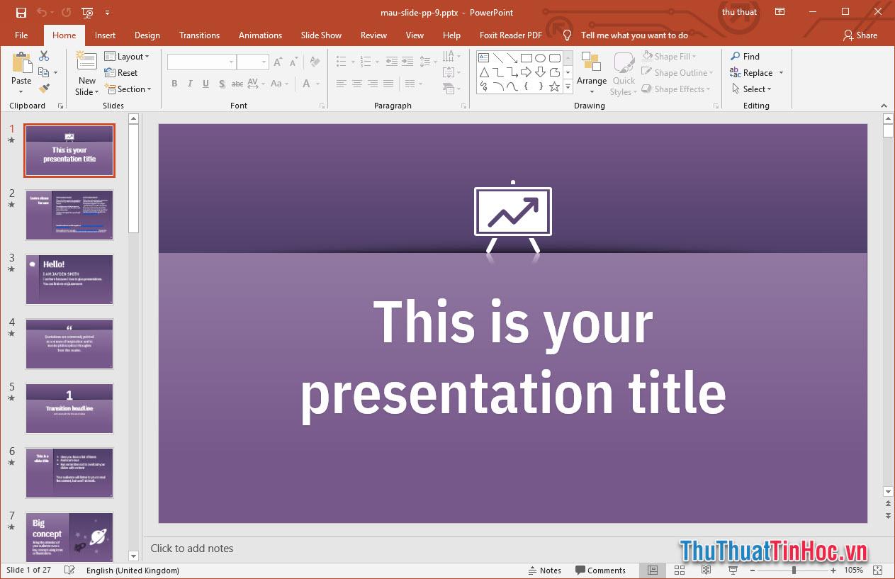 Mẫu slide báo cáo Powerpoint