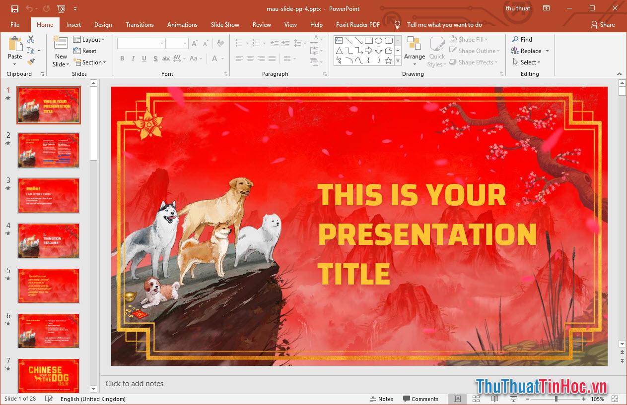 Mẫu slide Powerpoint phong cách Tết Nguyên Đán