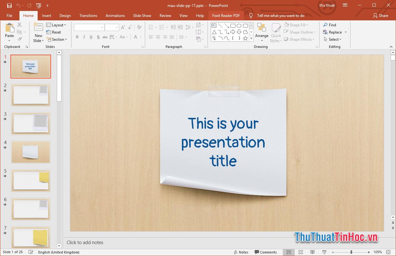 Mẫu slide thuyết trình đơn giản