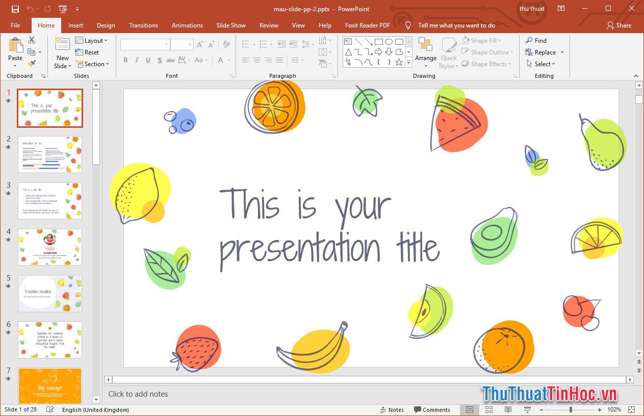 Mẫu slide thuyết trình Powerpoint đẹp, bắt mắt