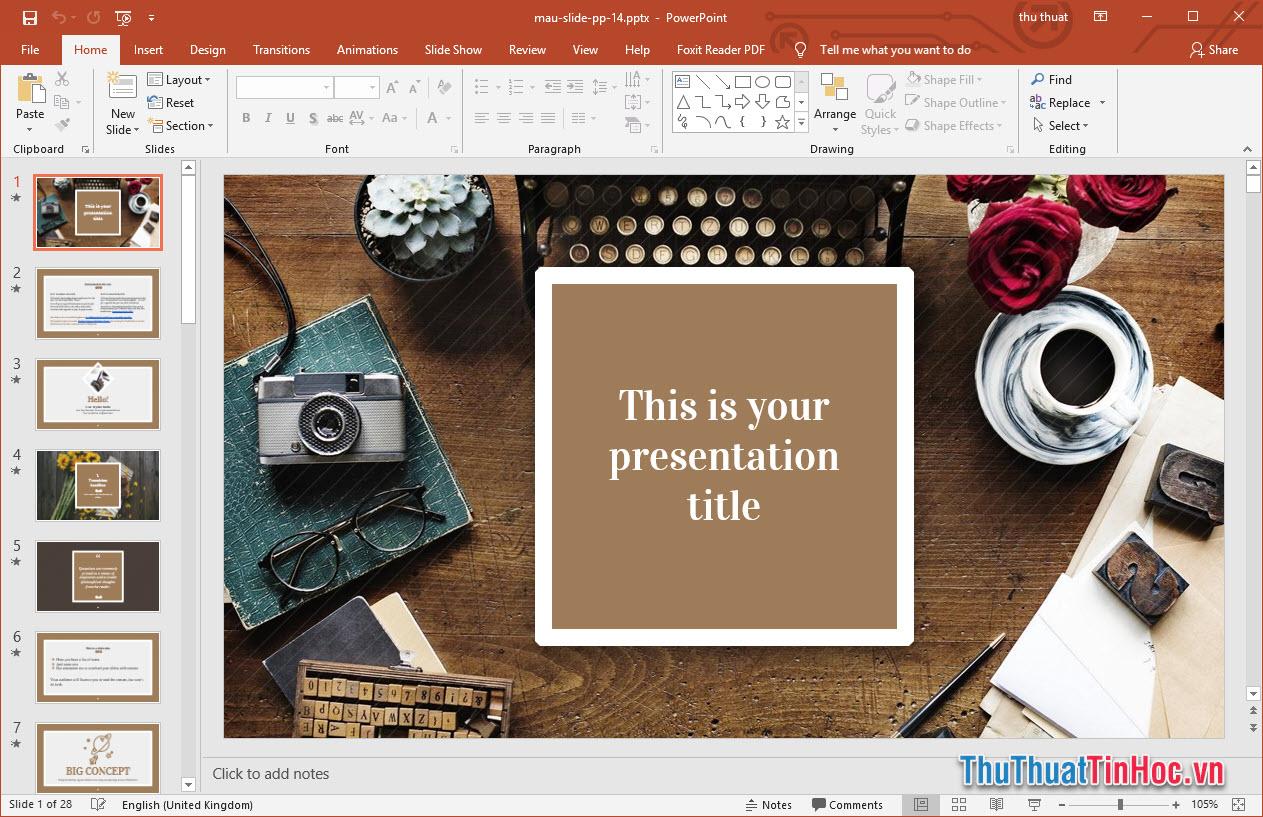 Mẫu Slide thuyết trình Powerpoint đẹp giản dị