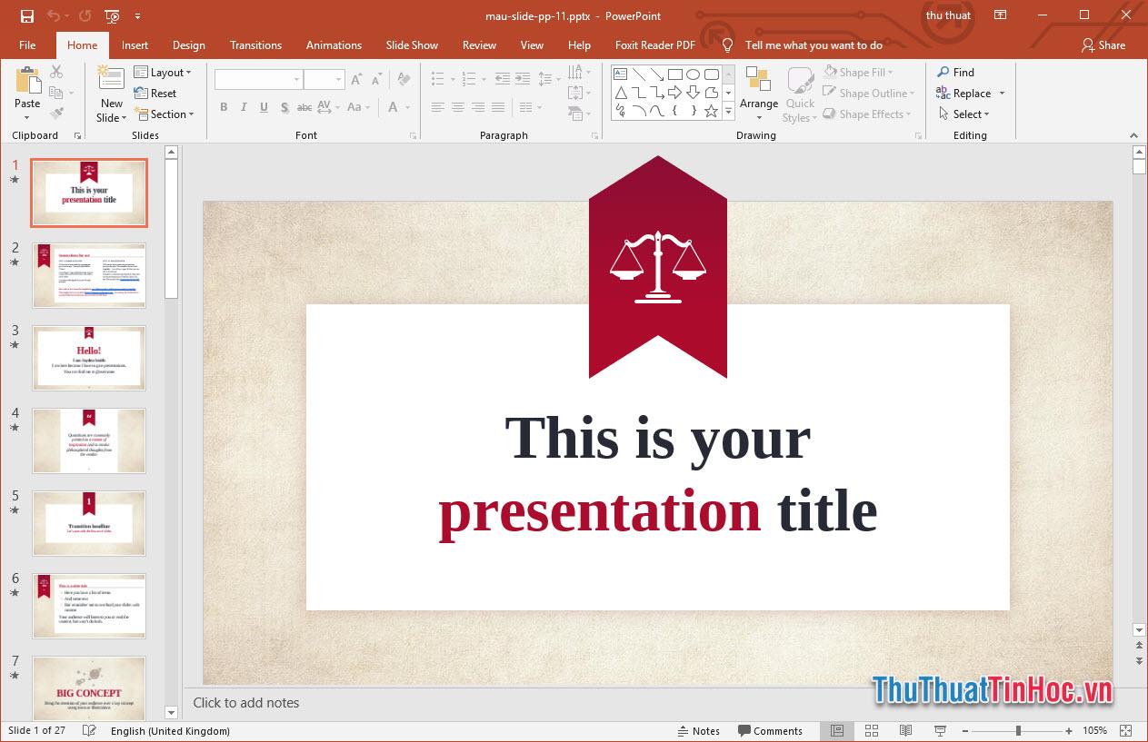 Mẫu slide thuyết trình Powerpoint đẹp trang trọng