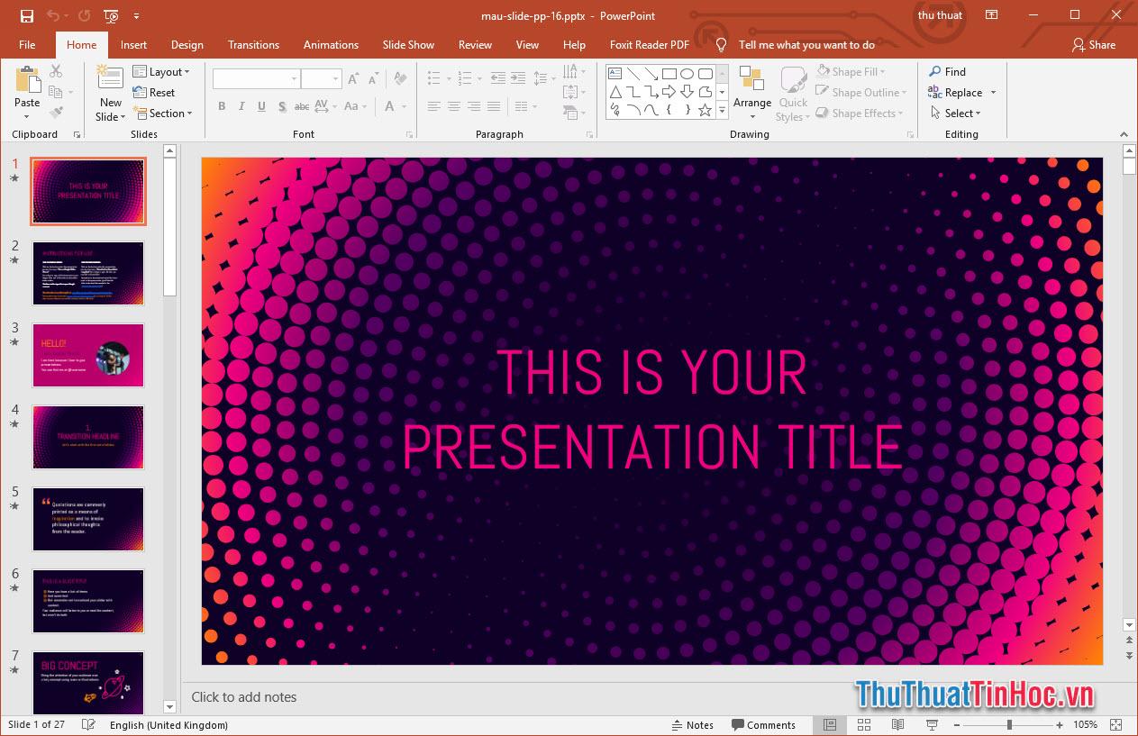 Mẫu slide thuyết trình Powerpoint đẹp