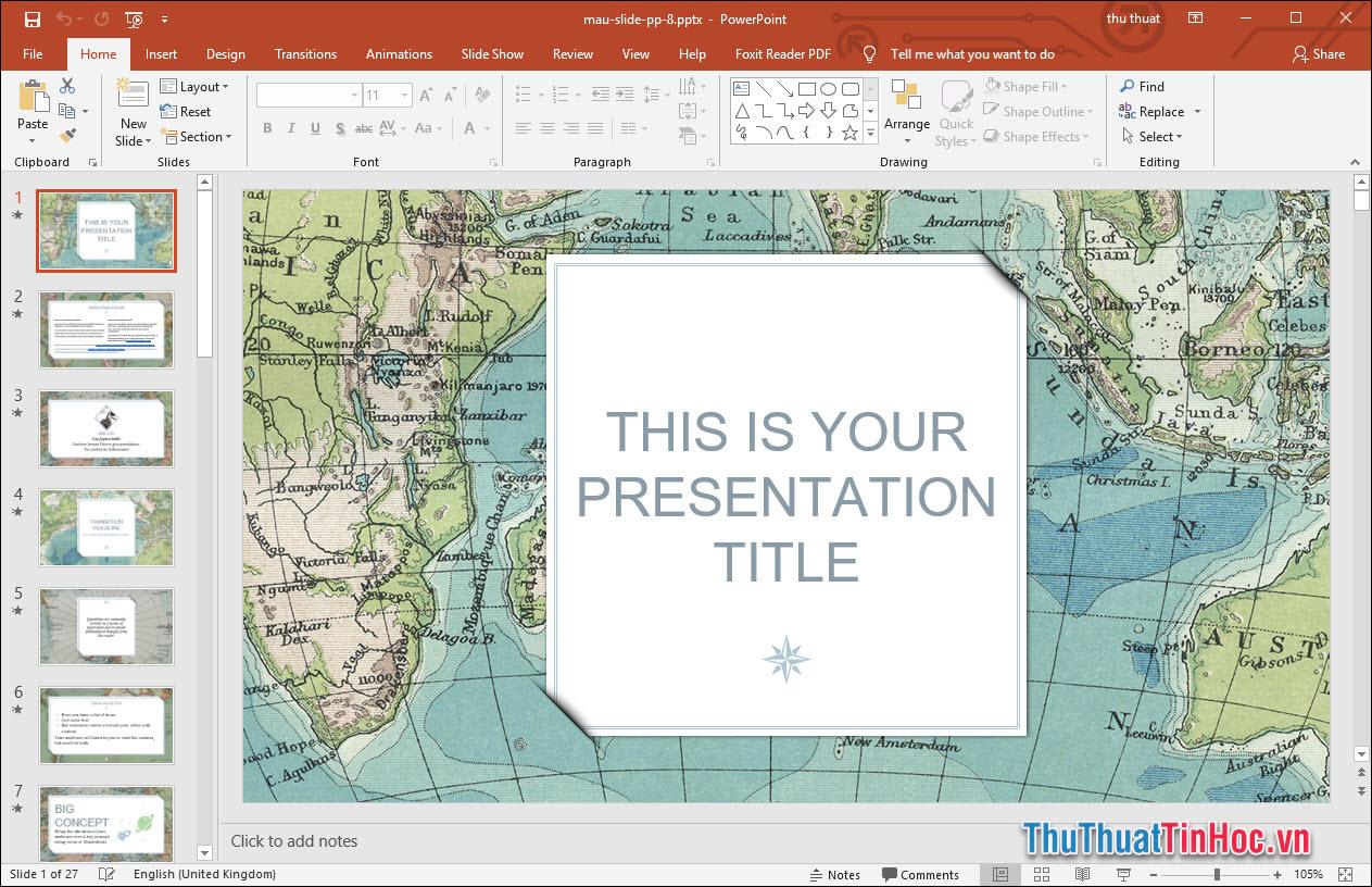 Mẫu slide thuyết trình Powerpoint lĩnh vực địa lý