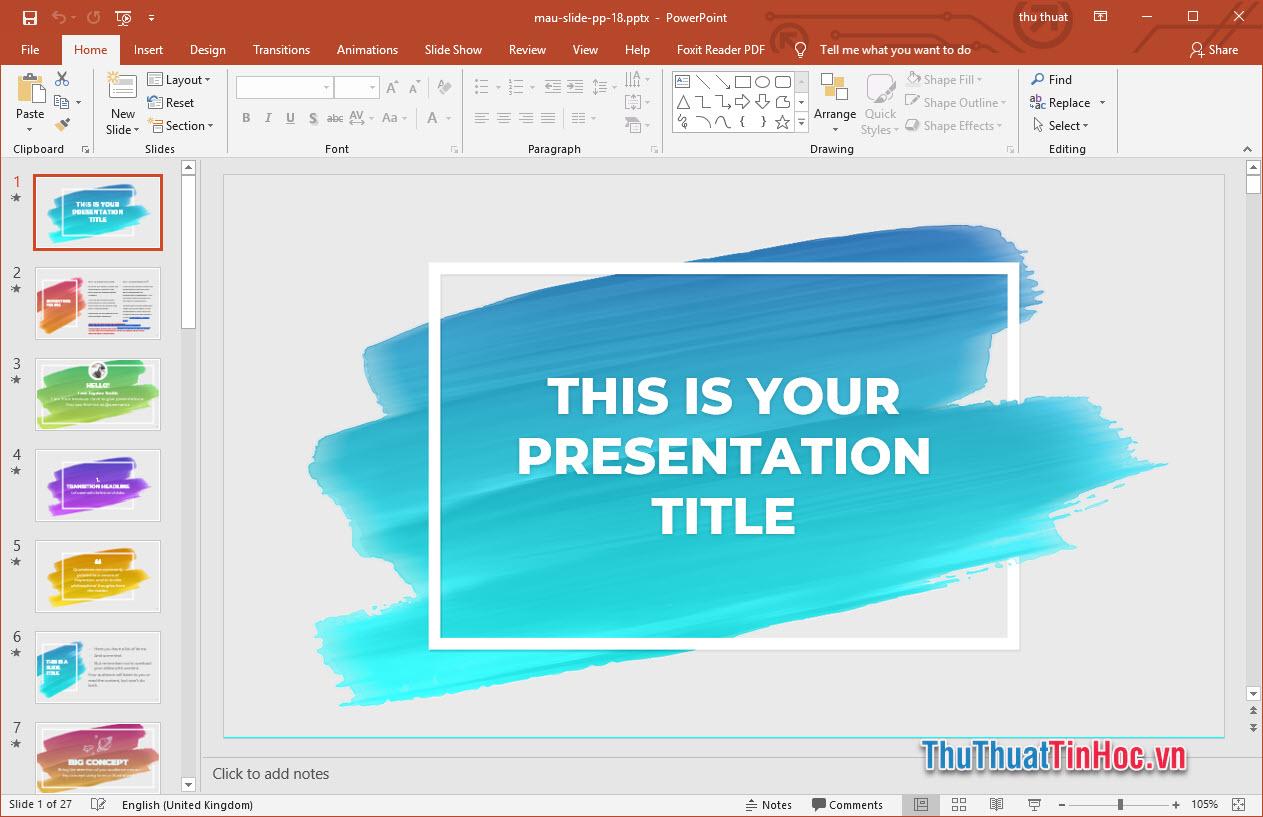 Mẫu slide thuyết trình Powerpoint màu sắc