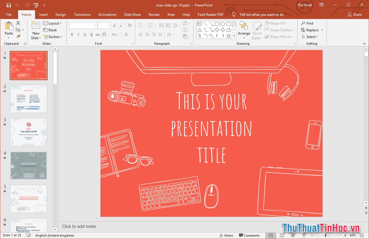 Mẫu slide thuyết trình Powerpoint phong cách minh họa