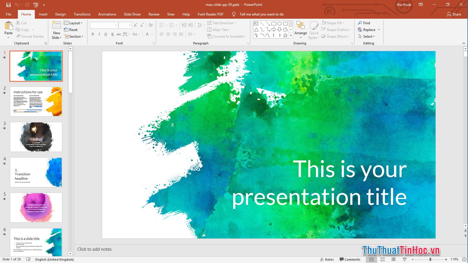 Mẫu Slide thuyết trình Powerpoint sắc màu