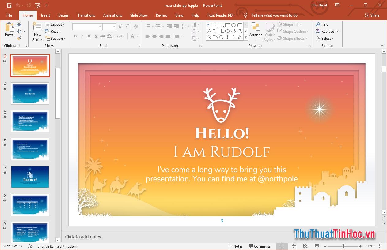 Slide thiết kế theo phong cách Giáng sinh